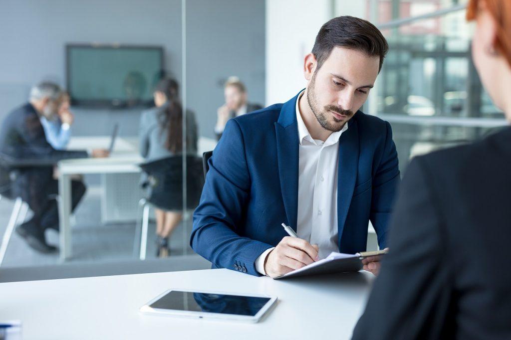 HR officer interviewing an applicant