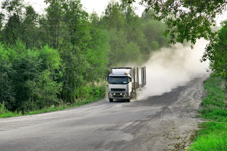 Truck moving at a high speed