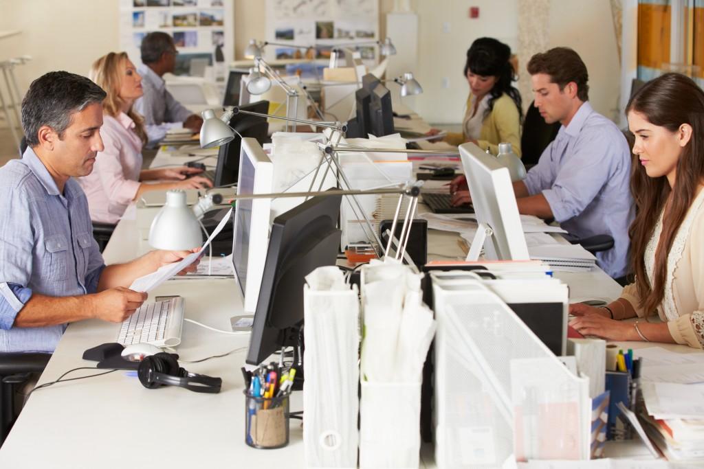 team working in open office design