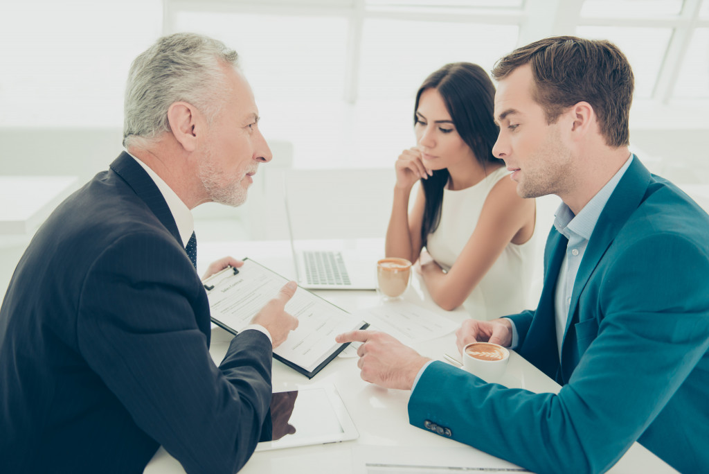clients consulting to a lawyer