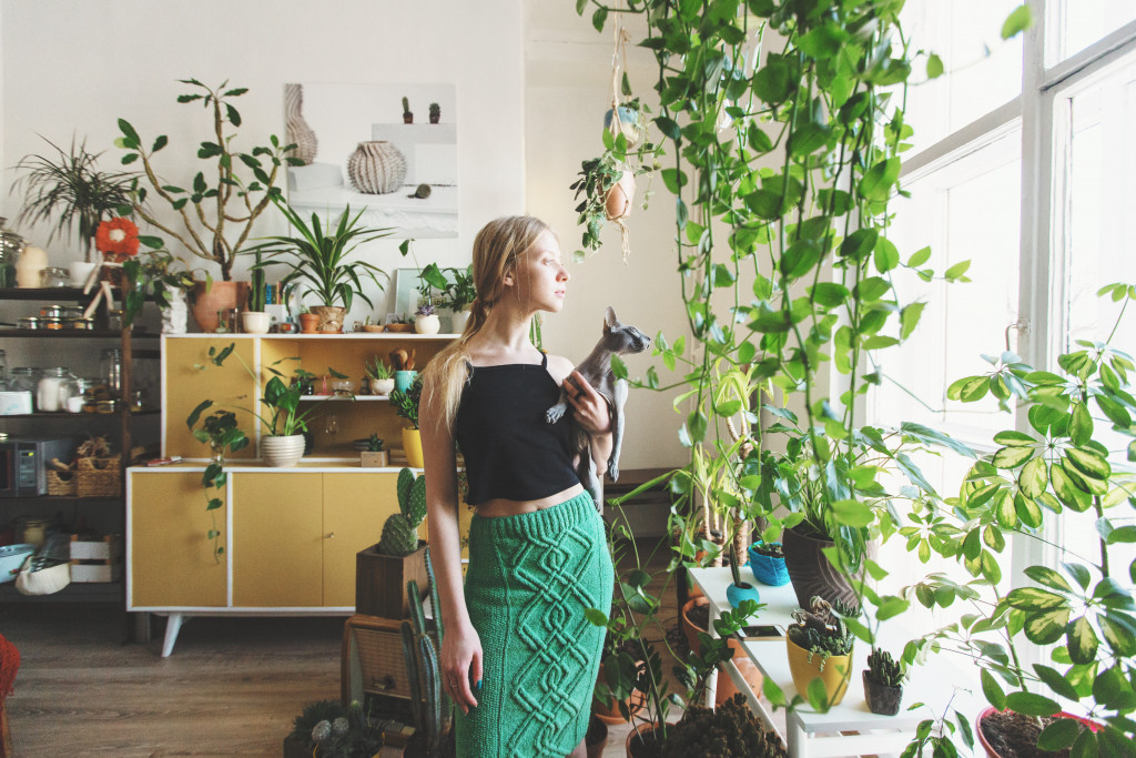 woman with indoor plants