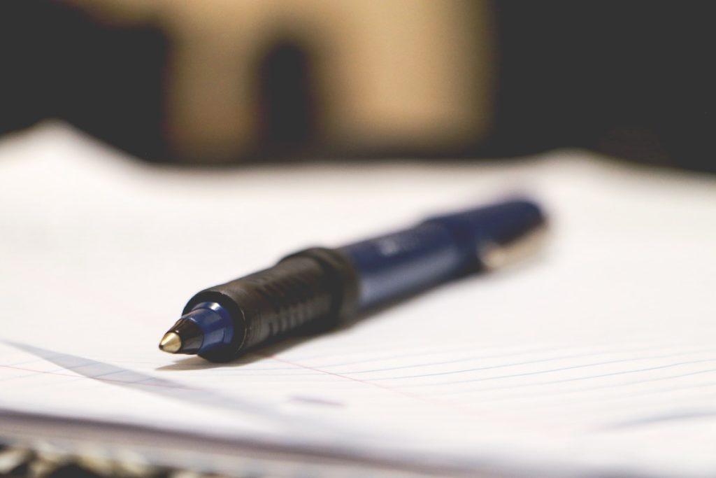 closeup of the tip of a ballpoint pen