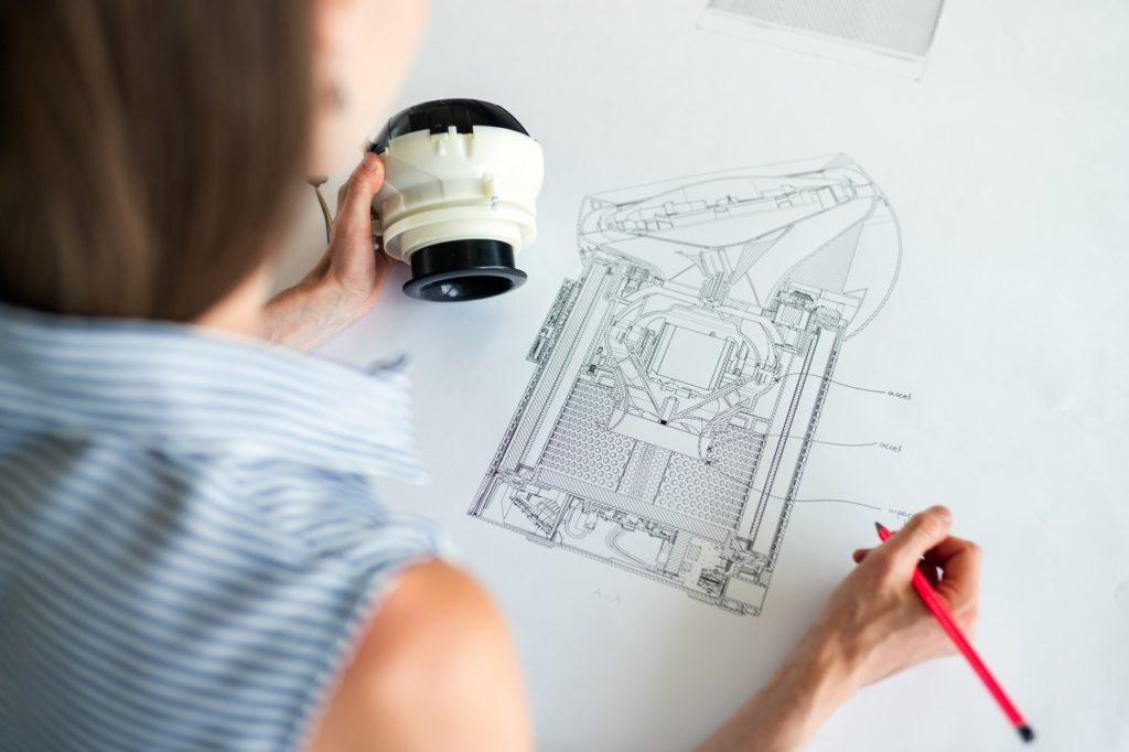 woman drafting a plan