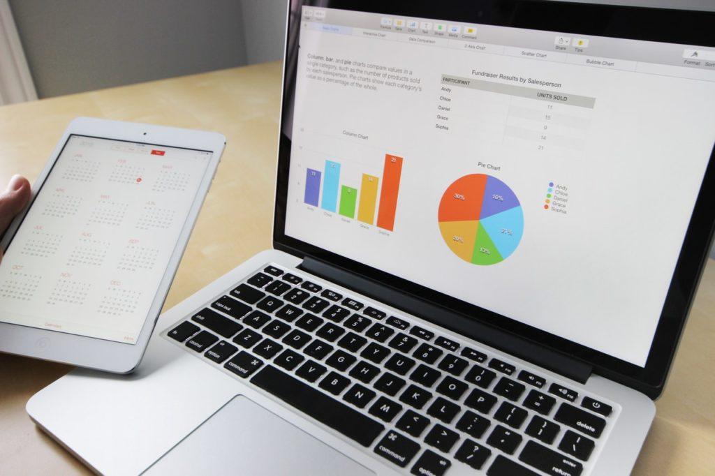 graph on laptop